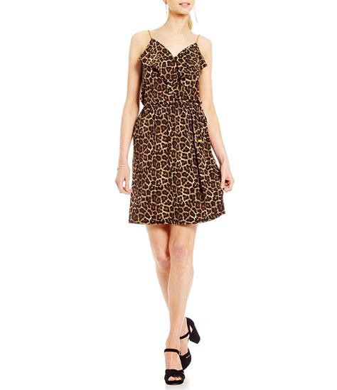 Dress Of The Day Printed Matte Jersey Wrap Dress by Michael Michael Kors Leopard Print Matte Jersey Chain