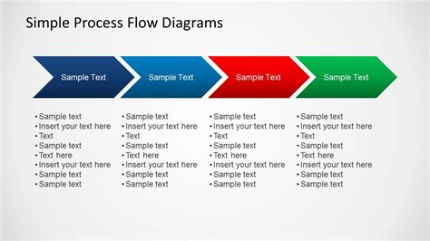 Simple Chevron Process Flow Diagram For Powerpoint Chevron Flowchart