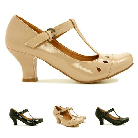new womens kitten heel rounded toe t bar court shoes size