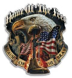 eagle home of the free because of the brave decal