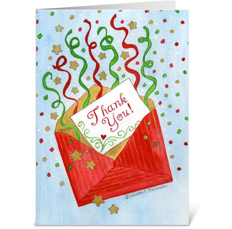 christmas gift red envelope thank you greeting card by the
