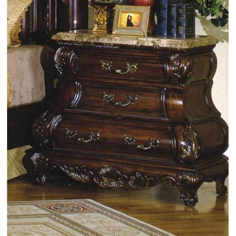 nightstand with marble top caledonian traditional brown cherry 3 drawer bombe