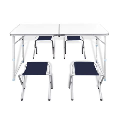 adjustable table height stools vidaxl co uk foldable cing table set with 4 stools
