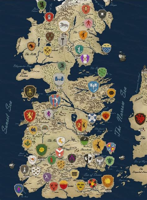 Westeros Houses by Of Thrones Houses Map Westeros Tv Show Fabric Poster