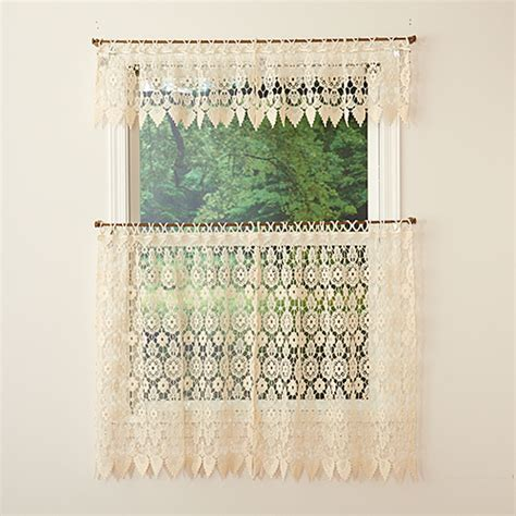 lace tier curtains medallion macrame lace tier curtain boscov s