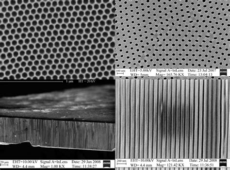 Figure 11 Sem Images Showing The Cnt Pipe A Top Left Surface Of Porous Alumina Template Porous Alumina Template
