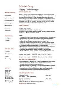 Resume Format For Supply Chain Management by Exle Of A Supply Chain Manager Cv Template Logistics Suppliers Description
