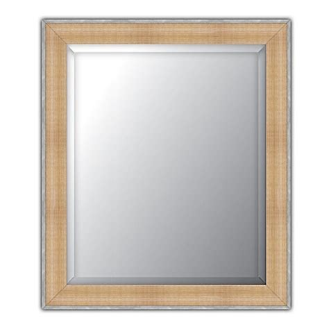 bed bath and beyond bathroom mirrors elsa l beveled wall mirror in natural pewter bed bath