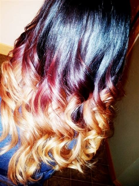red and blonde hombre pics black burgundy blonde ombre by modern trendz salon