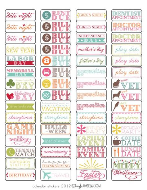sticker templates a diy gift the potteries magnets and calendar