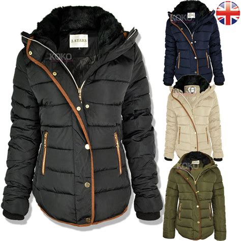 womens quilted winter coat puffer fur collar hooded jacket parka size new ebay