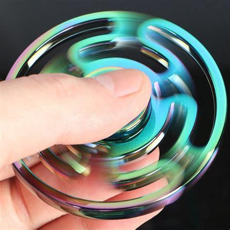 Fidget Spinner Finger Ufo 3 Side Rainbow Stainless Premium zinc alloy rainbow fidget spinner maze
