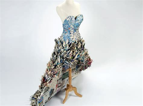 Eco Fashion Research Paper by Origami An Upcycled Gown Made From 1 000 Newspaper Cranes Ecouterre