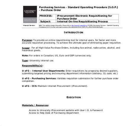 sop template standard operating procedure template free