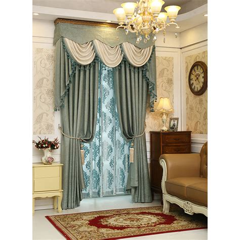 Green Patterned Curtains Green Patterned Jacquard Chenille Thermal Soundproof Luxury Valance Curtains