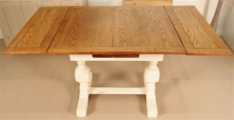 shabby chic painted oak draw leaf dining table 304979