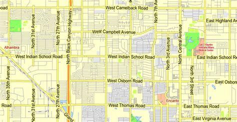 printable phoenix area map phoenix metro area printable map arizona exact vector