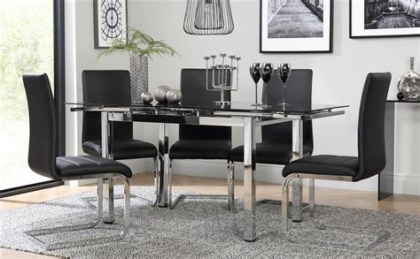 Space Chrome Black Glass Extending Dining Table With 4 Dining Room Furniture Perth