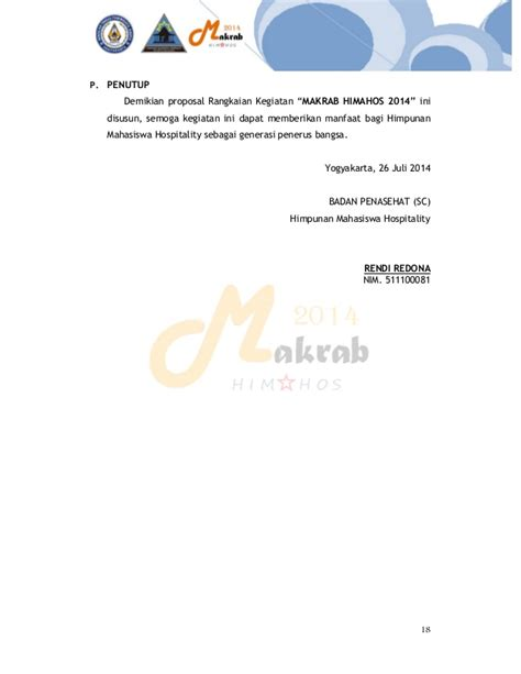 himpunan mahasiswa hospitality stp ta yogyakarta draf proposal makrab himpunan mahasiswa hospitality