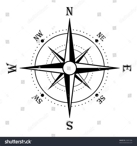 line drawing compass clipart best compass rose black white stock illustration 23091586