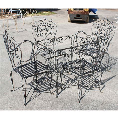 Black Wrought Iron Patio Furniture Sets Vintage Black Wrought Iron Dining Set Omero Home