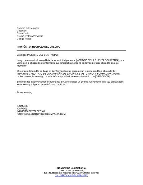 carta de rechazo de compra rechazo cr 233 dito modelos y ejemplo biztree