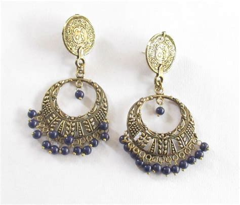 Antique Brass Gold Navy Blue Beads Chandelier Earrings Navy Blue Chandelier Earrings