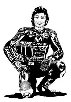 Valentino Rossi Motorcycle Drawing Art Print #VR46 MotoGP