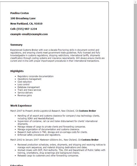 Import Specialist Cover Letter by Customs Broker Resume Template Best Design Tips Myperfectresume