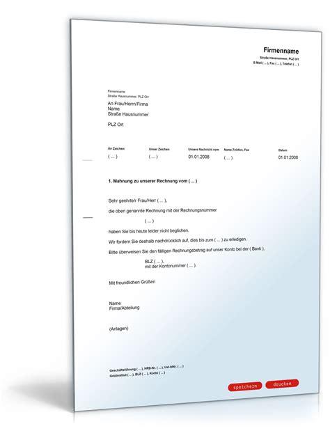 Muster Quittung Word Schweiz 1 Mahnung Zahlungserinnerung Muster Vorlage Zum