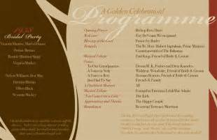 6 best images of 50th wedding anniversary program sles 50th wedding anniversary program