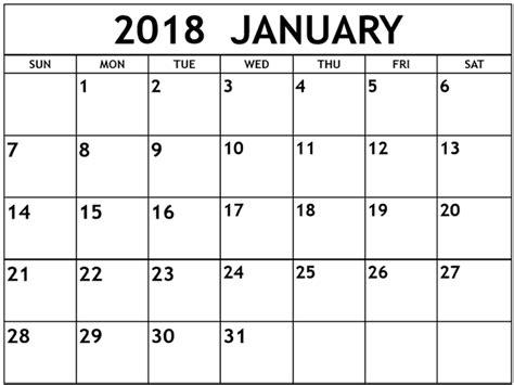 printable calendar 2018 january pdf january 2018 calendar pdf