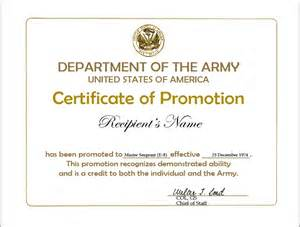 certificate of promotion template creed for nco promotion warrant quotes