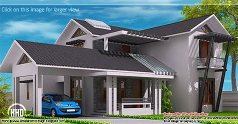 modern mix sloping roof home design 2650 sq feet modern mix sloping roof home design kerala home design