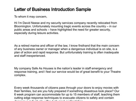 Exle Of Introduction Letter In Business Letter Of Business Introduction
