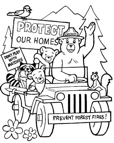 coloring page smokey the bear kids stuff pinterest