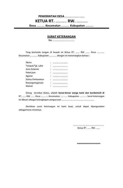 contoh surat resmi surat keterangan domisili dari rt rw