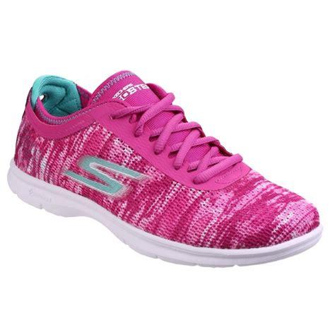 skechers womens pink go step walking shoes sk14200
