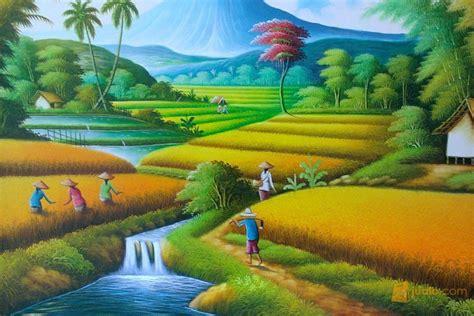 wallpaper pemandangan alam kartun gambar gambar mewarnai sawah lucu pemandangan kartun di