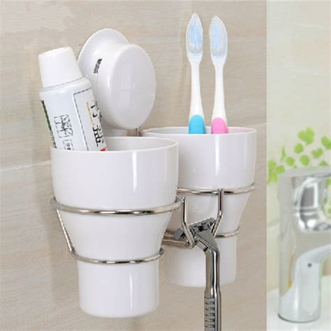 Stainless steel wall toothbrush holder set 2 wash tooth brush mug storage cup decorative
