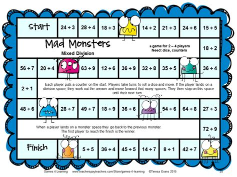 printable math division board games image gallery monster math multiplication games