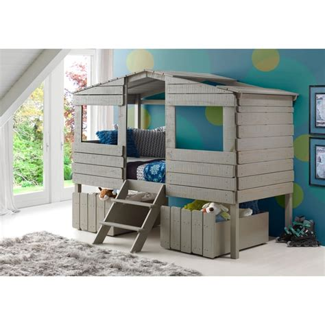 treehouse twin loft bed donco kids rustic grey finished pine wood twin tree house