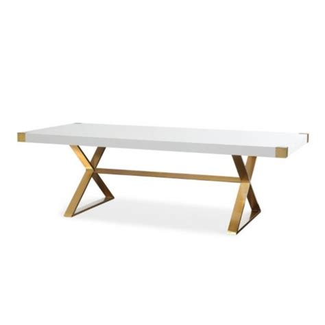 gold base dining table glam white lacquer top brushed gold base dining table