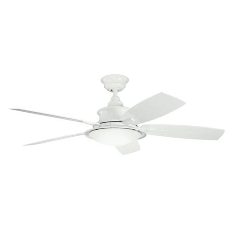Shop Kichler Lighting Cameron 52 In White Downrod Mount Outdoor Ceiling Fans With Lights And Remote