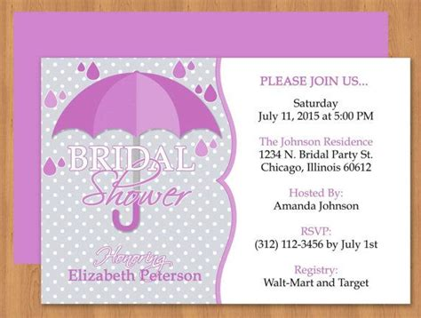 purple umbrella bridal shower invitation editable