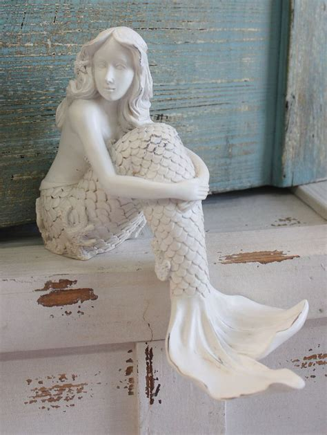 White mermaid shelf sitting figurine sea beauty nautical bedroom amp bathroom decor