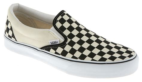 vans classic slip on black white check trainers shoes vh9