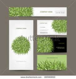 landscape design business cards business cards collection green meadow design stock vector