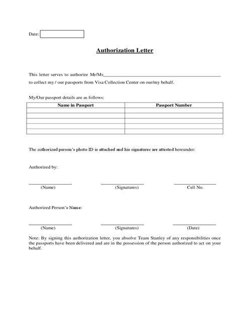 authorization letter to collect passport from embassy passport collection authorization letter sle free