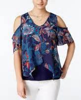 Byer Cold Shoulder Printed Top cold shoulder tops shopstyle